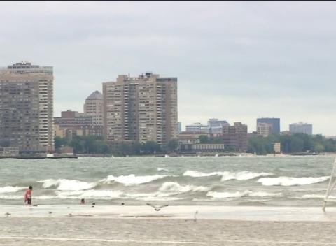 News video: Beach Hazard Issued For Lake Michigan, Massive Waves Expected