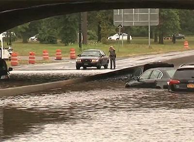 News video: Record Rainfall Strands NY Drivers, Kills 1